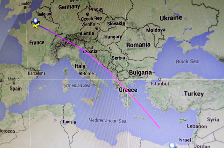 Image: The flight path of Egyptair Flight MS804