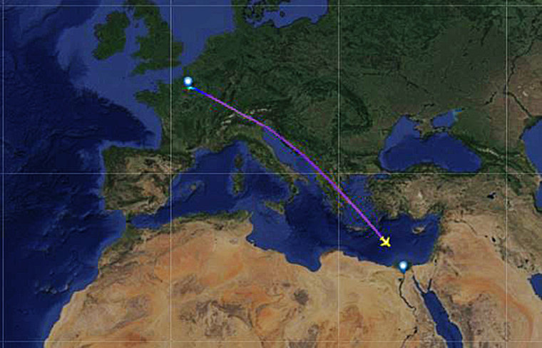 A line shows the flight path of EgyptAir Flight MS804.