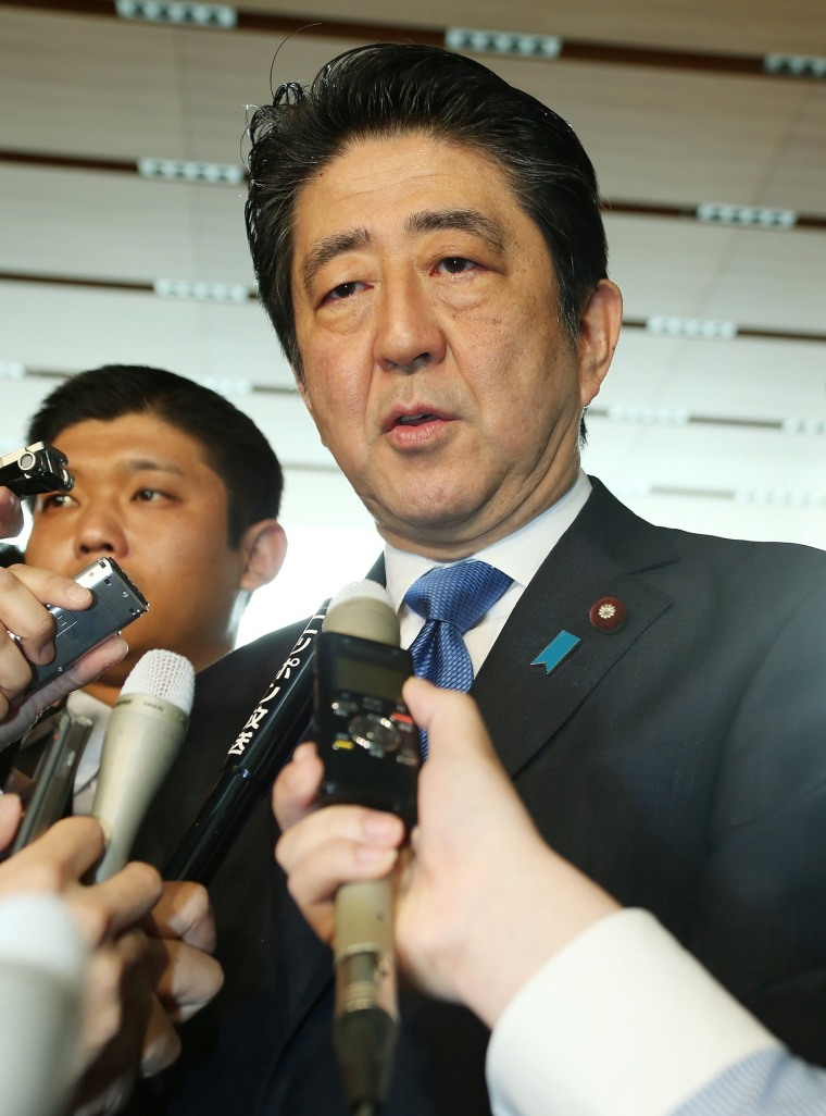"Image: Japanese PM Shinzo Abe told reporters of his ""deep anger"" over the latest Okinawa incident."