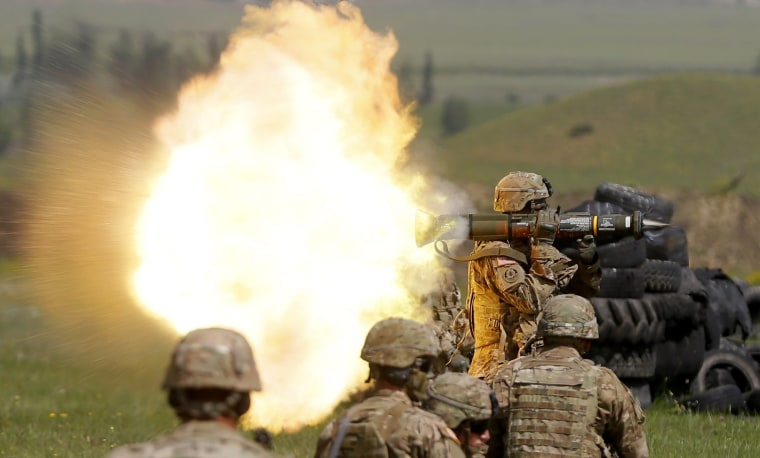 Image: U.S. soldier fires rocket launcher during Exercise Noble Partner