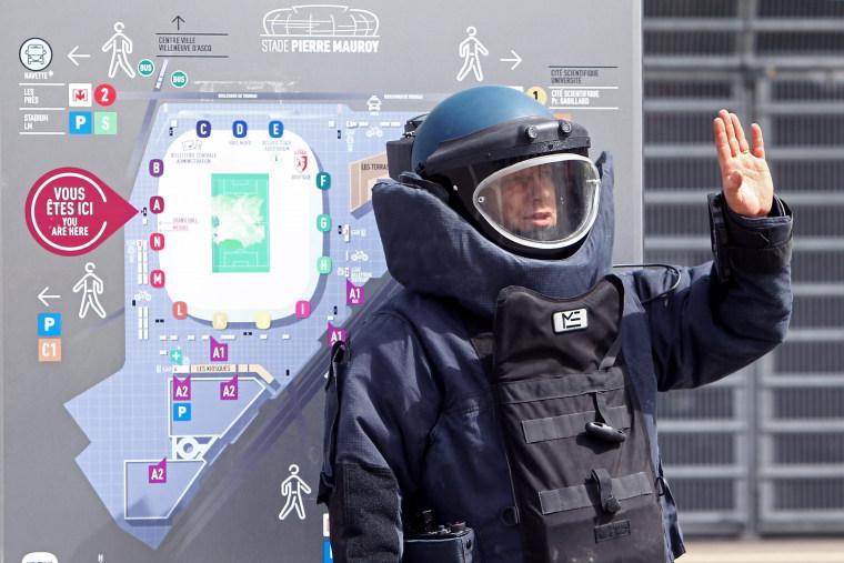 Image: Police officer during security exercise in Villeneuve-d'Ascq, France, on April 21, 2016