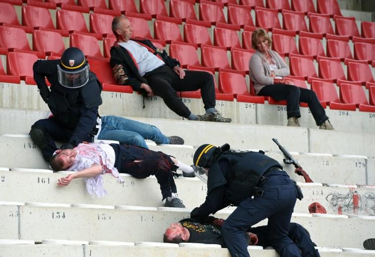 Image: Mock terrorist attack in Valence, France, on April 21