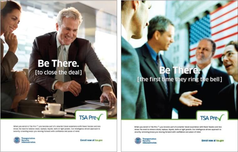 Ads for TSA PreCheck service.