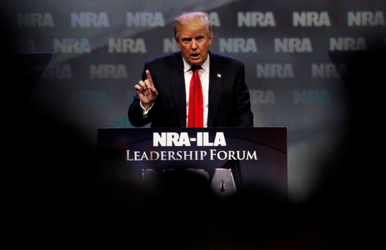 Image: Republican presidential candidate Donald Trump attends the National Rifle Association's NRA-ILA Leadership Forum during their annual meeting in Louisville