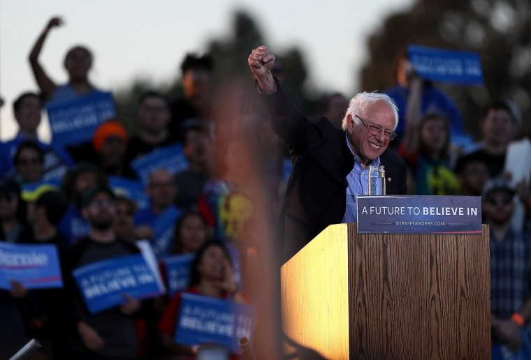 Image: Democratic Presidential Candidate Bernie Sanders Holds Campaign Rally In Bay Area