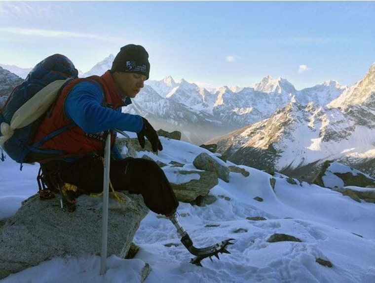 Image: Charlie Linville, pictured here on an earlier climb, became the first combat amputee to reach the summit of Mount Everest