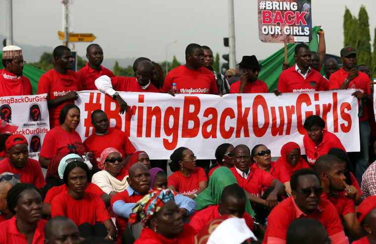 Image: The Abuja wing of the 'Bring Back Our Girls protest group prepare to march to the presidential villa in Abuja