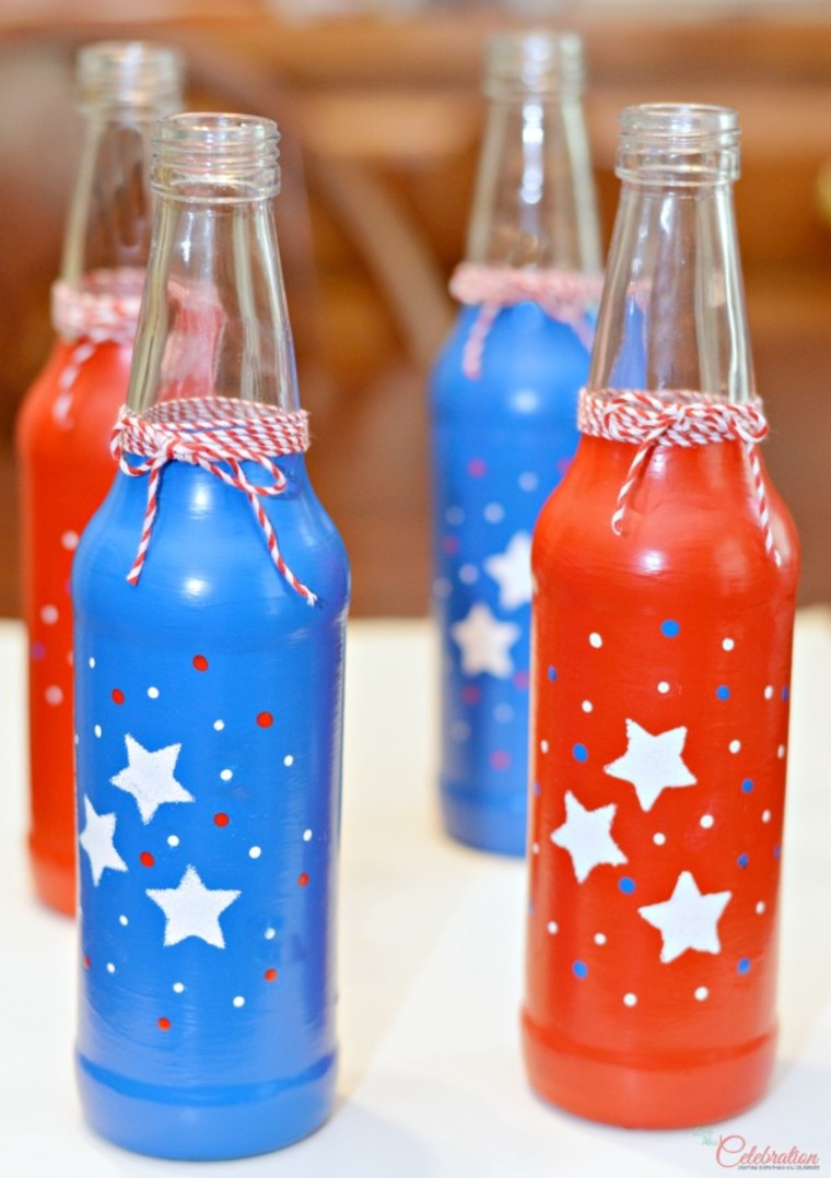 DIY red, white and blue soda bottles