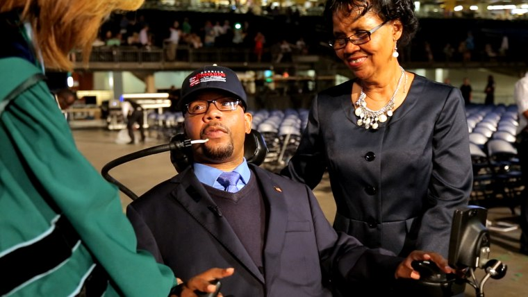Paralyzed former football star and US Senate candidate, Derrick Edwards