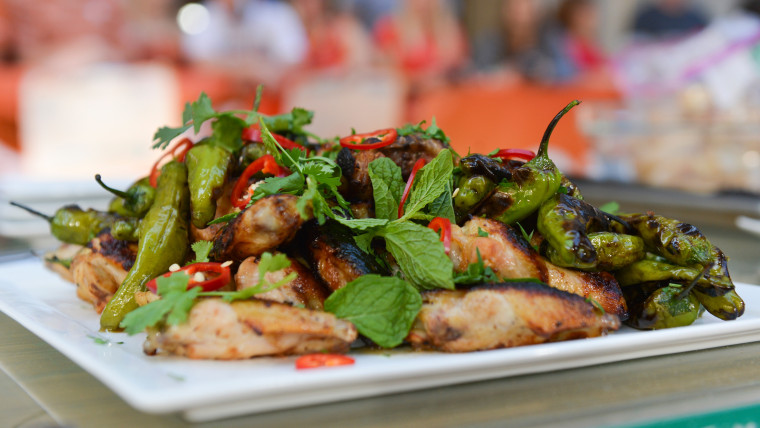 Adam Rappaport's recipes for grilled chicken wings with shishito peppers and marinated steak