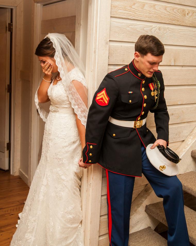 Wedding couple praying photo