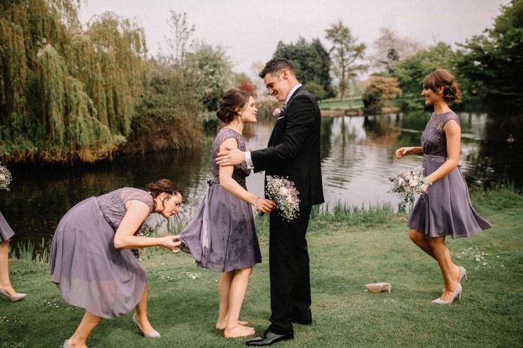 Bridesmaid jumps in lake