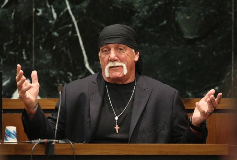 Image: Terry Bollea, aka Hulk Hogan, testifies in court during his trial against Gawker Media, in St Petersburg, Florida