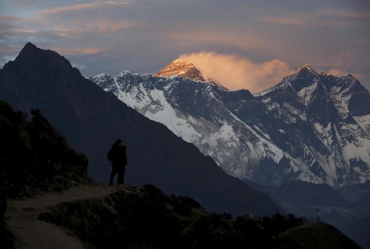 Image: Light illuminates Mount Everest at sunset on Nov. 30, 2015