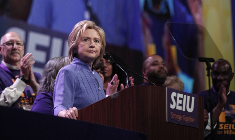 Image: Democratic Presidential Candidate Hillary Clinton Speaks At SEIU International Convention In Detroit