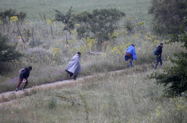 Image: A group of men run to avoid being transferred to government camps for refugees and migrant, during a police operation near the village of Idomeni