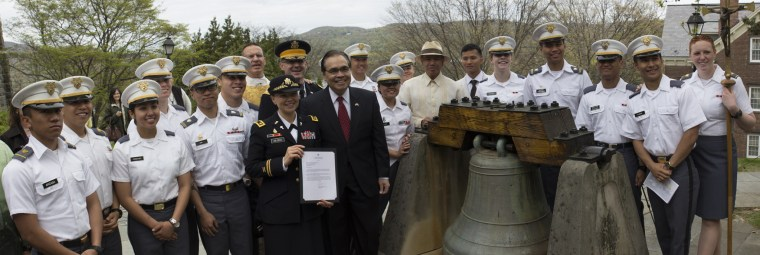 U.S. Army Garrison West Point Chaplain (Maj.) Valeria Van Dress, Philippine Counsel General Mario L. De Leon Jr., U.S. Military Academy at West Point Chief of Staff Col. Wayne Green, U.S. Military Academy at West Point Catholic Chaplain (Col.) Matthew Pawlikowski, Retired Counsel General Sonny Busa and U.S. Military Academy at West Point Cadets bid a final farewell to the San Pedro Bell before it is removed and shipped from the U.S. Military Academy at West Point to the Church of Saints Peter and Paul in Bauang, La Union, Philippines, on April 29, 2016.