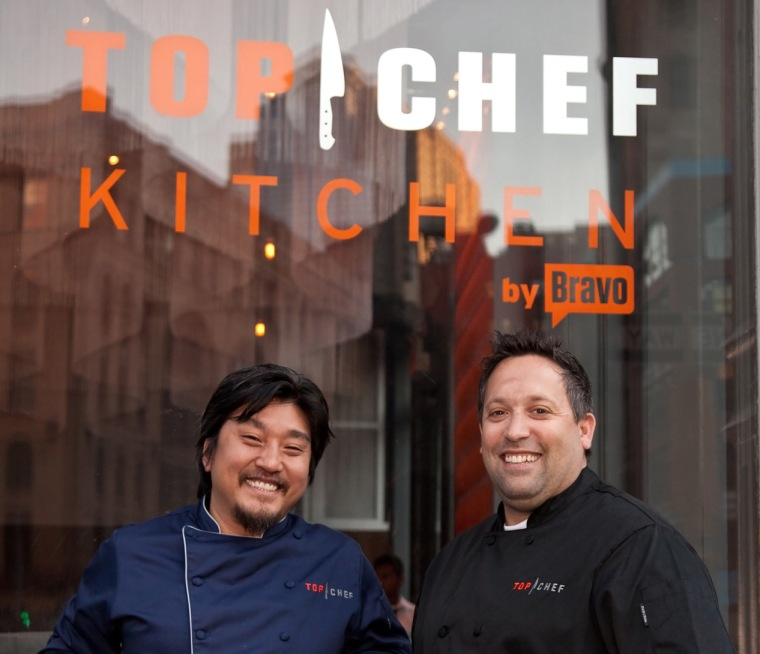 Edward Lee, left, in front of the Top Chef kitchen.