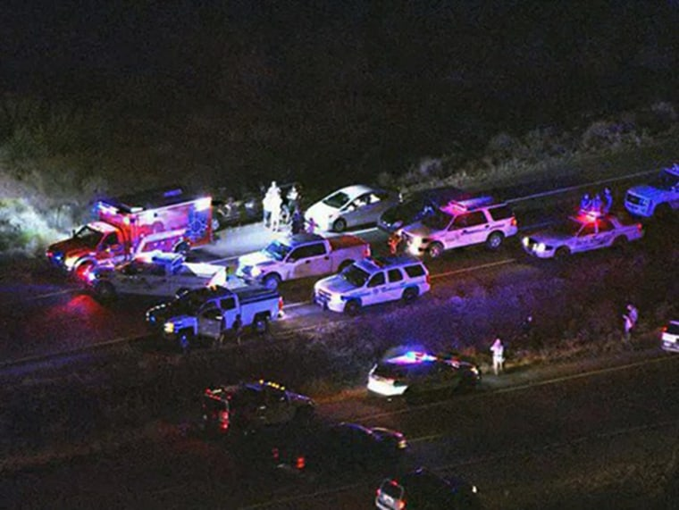 Authorities say they're searching for at least one suspect after a motorist in the Phoenix area was hit by gunfire, another was wounded in a carjacking, and a patrol cruiser was struck by a bullet.
