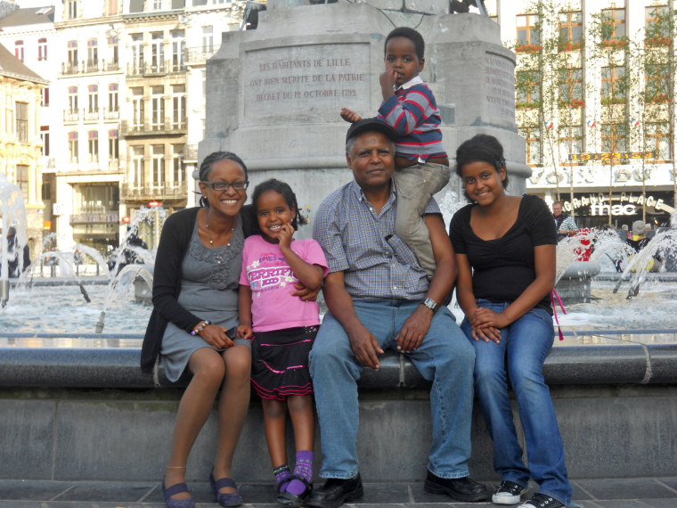 Andy Tsege with Yemi Hailemariam and the kids.