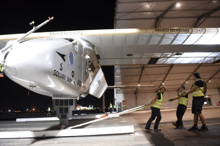 Image: Solar Impulse 2 is secured in the hangar after arrival in Lehigh Valley, Pennsylvania