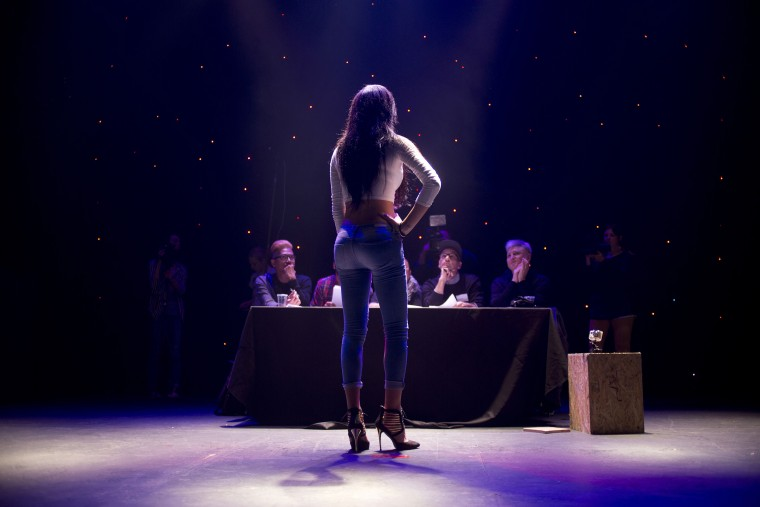 Image: Tallinn Abu Hana poses for the judges during auditions for the first Miss Trans Israel beauty pageant