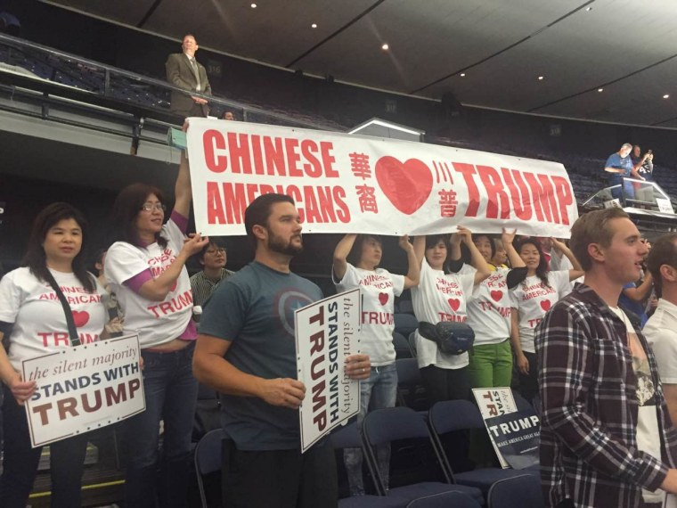 Members of Chinese Americans for Trump at an Anaheim, California, rally on May 25, 2016.
