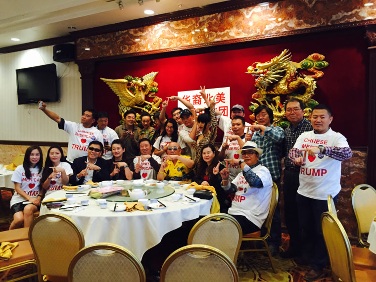 Members of Chinese Americans for Trump at an event with actress Bai Ling, center.