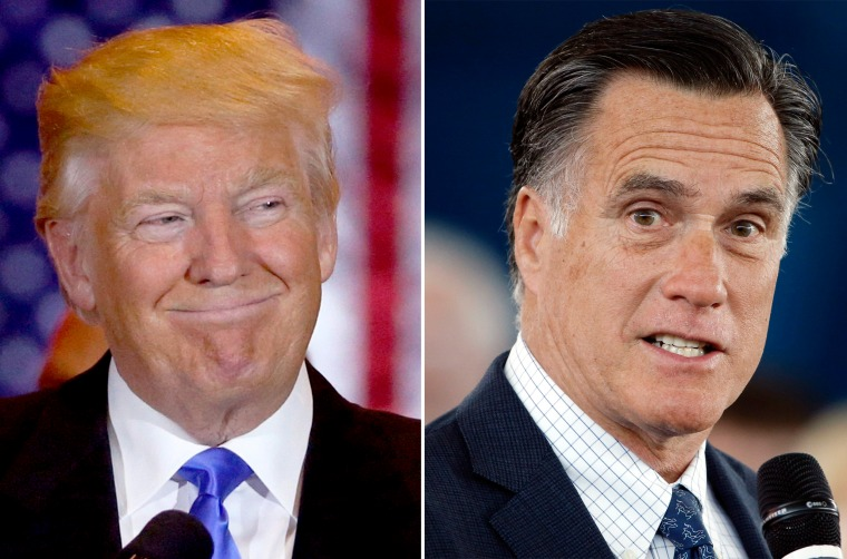 A combo photo showing Presumptive Republican nominee Donald Trump and Former Governor of Massachusetts Mitt Romney.
