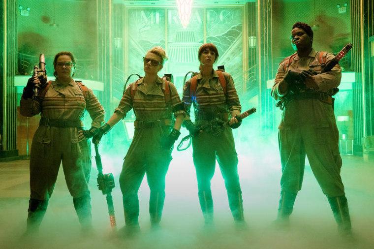 The Ghostbusters Abby (Melissa McCarthy), Holtzmann (Kate McKinnon), Erin (Kristen Wiig) and Patty (Leslie Jones) inside the Mercado Hotel Lobby.