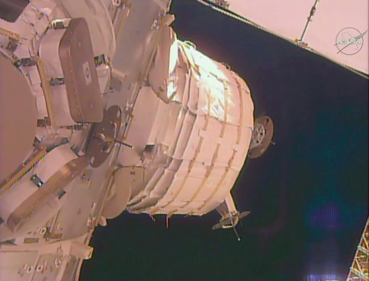 Image: The unexpanded BEAM is seen attached to the Tranquility module on the International Space Station