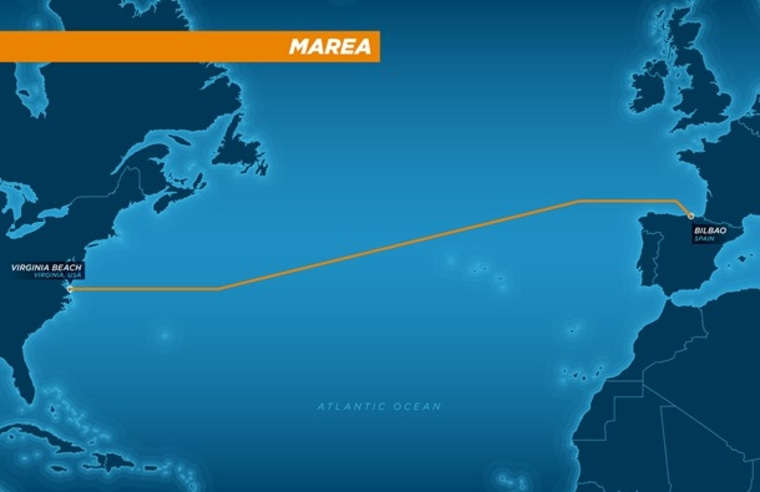 The subsea' MAREA' cable will be crossing the Atlantic Ocean.