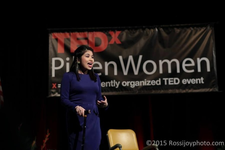 """Jessica Gimeno's first TEDxPilsenWomen Talk, """"How to get stuff done when you're depressed,"""" in 2015."""