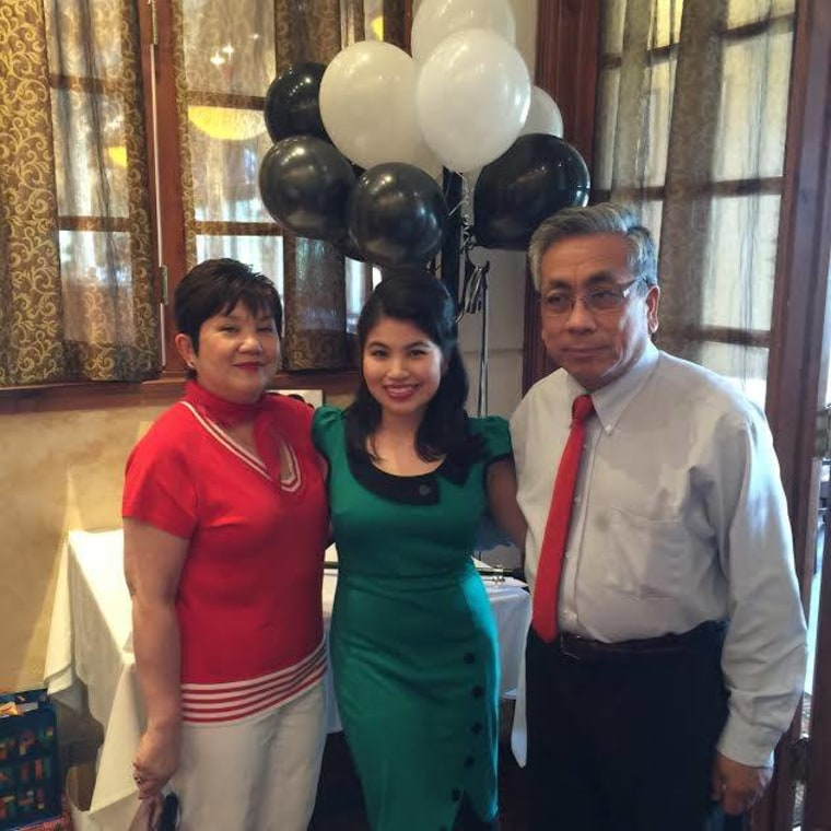 "Gimeno with her mother and father at her 2015 ""Mad Men"" themed birthday party."