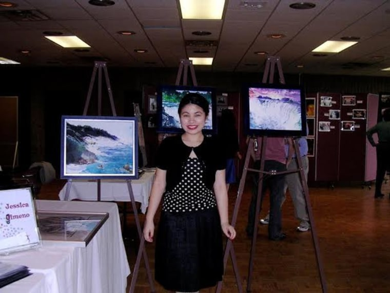 Gimeno showcases her original paintings at an art show during her senior year at Northwestern University in 2006.