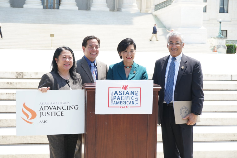 Reps. Judy Chu (D-CA) and Bobby Scott (D-VA), AAAJ-AAJC executive director Mee Moua, and NCAPA national director Christopher Kang hold a press conference on the steps of the U.S. Supreme Court urging Senate Republicans to hold confirmation hearings for U.S. Supreme Court Justice nominee Merrick Garland and seven other Asian American and Pacific Islander judges.