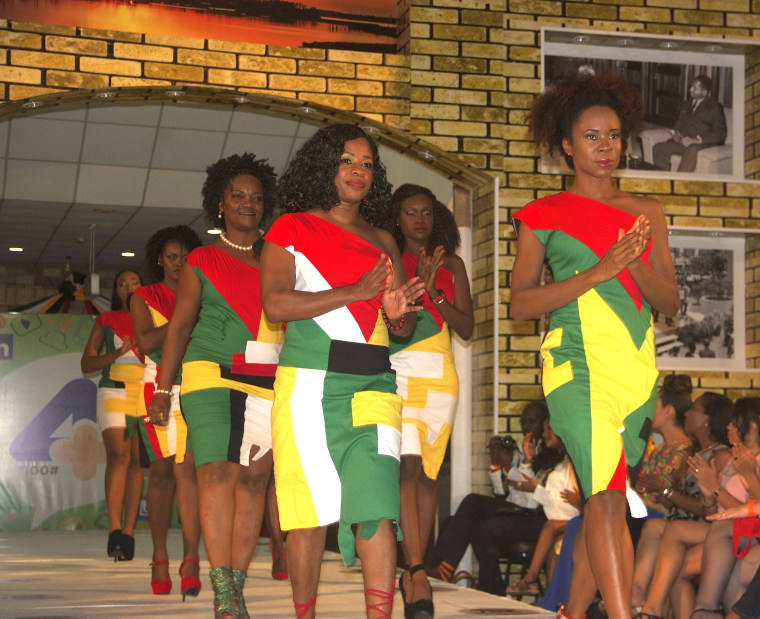 Guyana's National Colors were on display on the runway during the launch of Guyana Fashion Week on May 20, 2016.