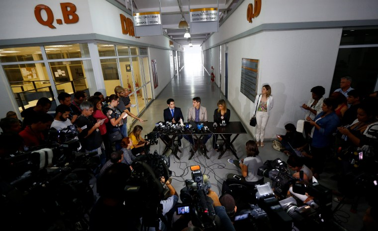 Rio de Janeiro police chiefs attend a news conference on the investigations on the gang rape of a teenage girl in Rio de Janeiro