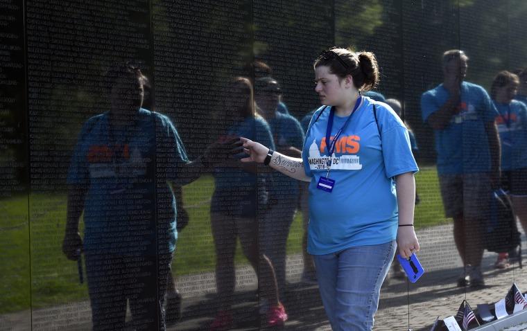 Image: Savanna Hill visits the Vietnam Memorial