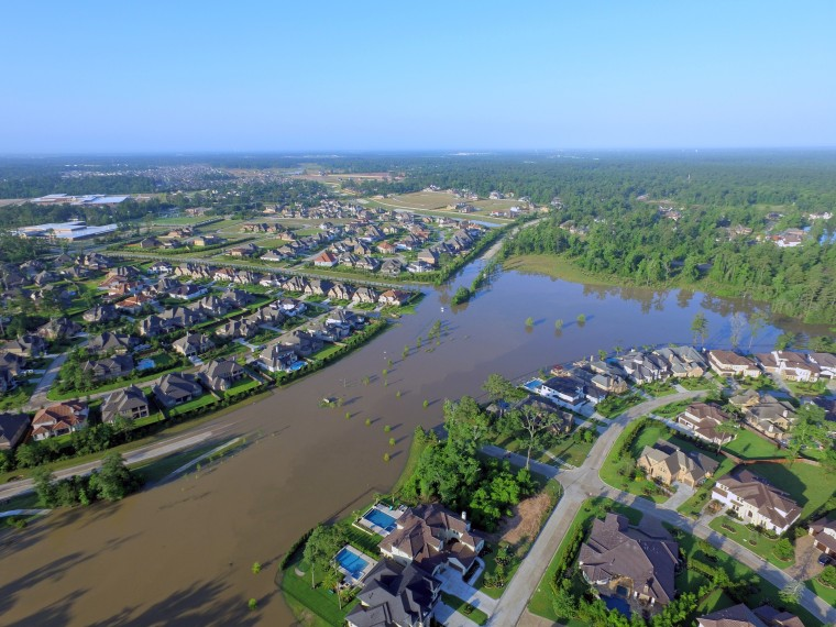 Flooding is seen in Tomball, Texas, in this photo captured by a drone Saturday morning.