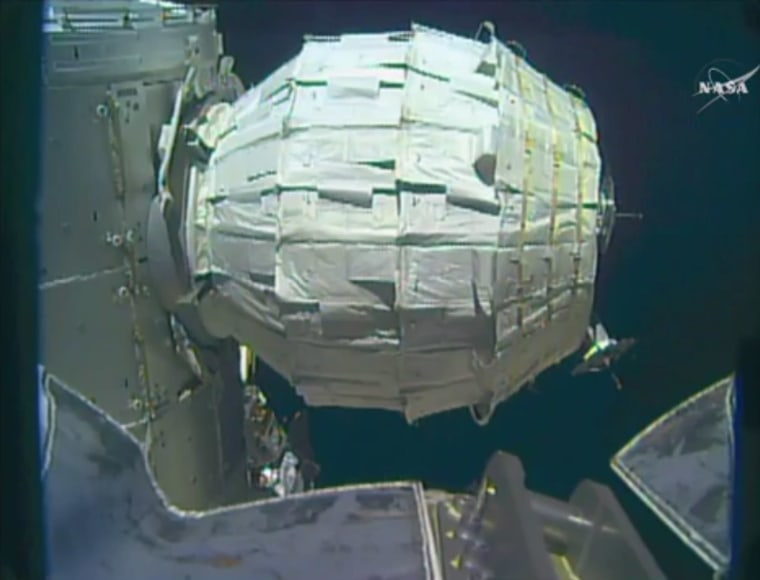NASA inflates first expandable room on International Space Station