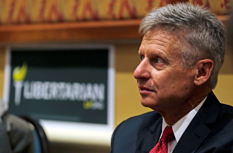 Image: Libertarian Party presidential candidate Gary Johnson looks on during National Convention held at the Rosen Center in Orlando, Florida