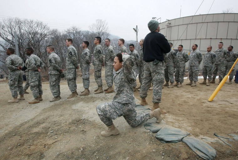 Y.S. Army soldiers participate in an air assault training course at a U.S. Army base in Dongducheon, South Korea, in 2013.