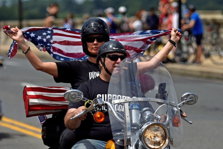 Image: Motorcyclists participate in Rolling Thunder, the annual ride around Washington Mall to raise awareness for prisoners of war and soldiers still missing in action, in Washington