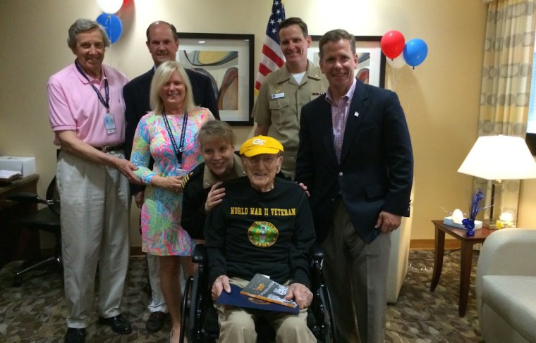 104-year-old Chester Gryzbowski, a WW2 vet who was named an honorary student at Georgia Tech. He was never able to attend the school because he was drafted into the Army.