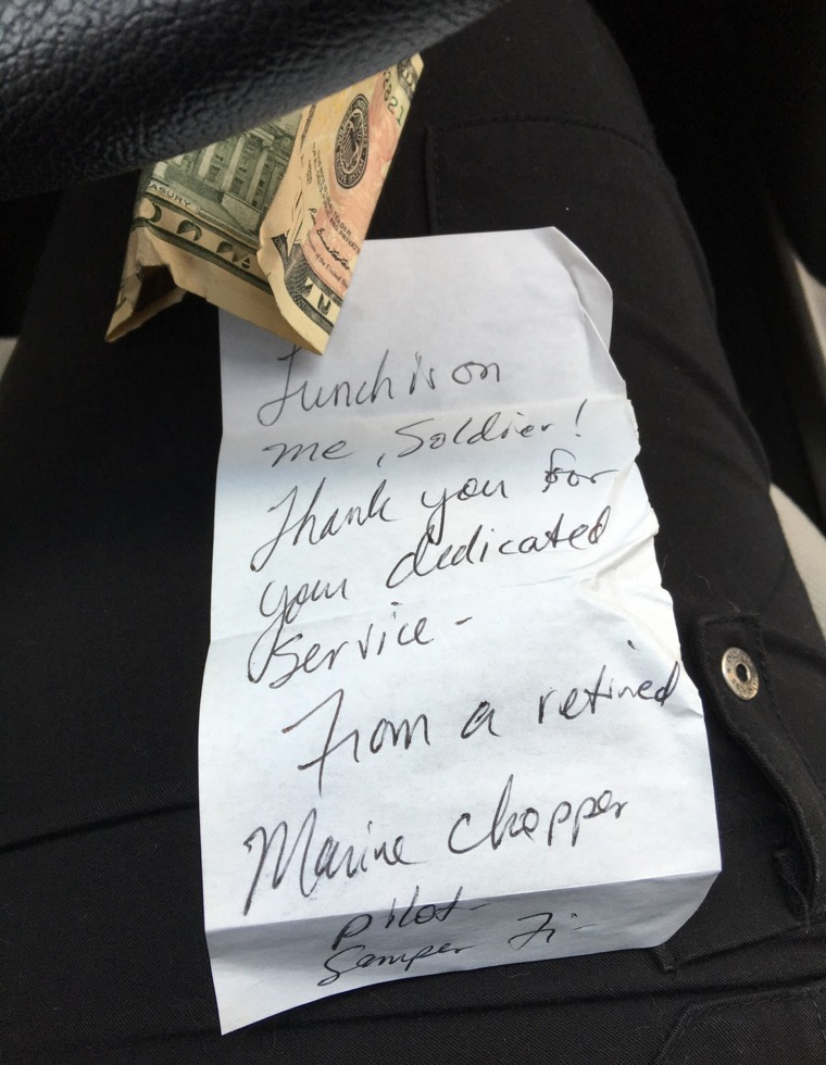 A disabled veteran posted on Reddit that he found on his windshield from another military vet