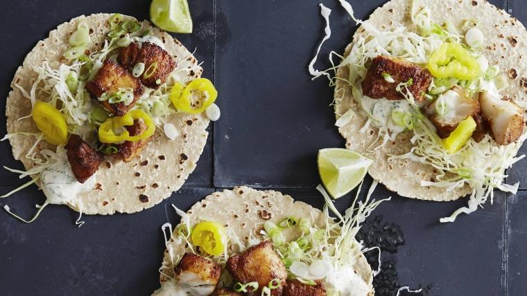 30-Minute Fish Tacos with Garlic, Mint and Cumin Mayo