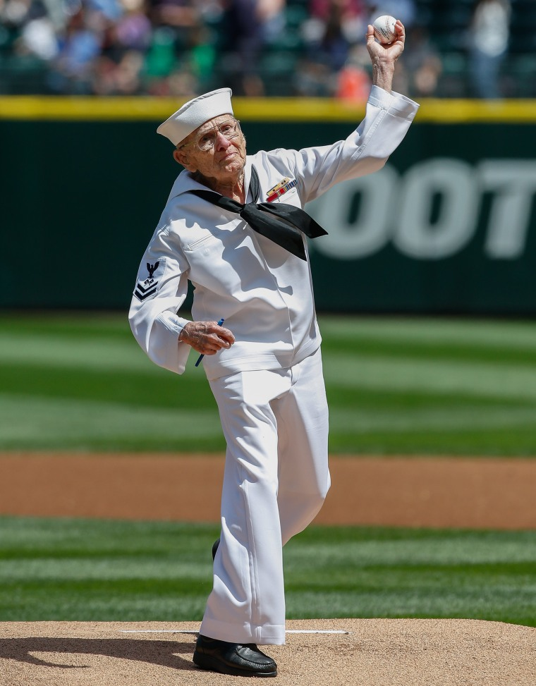 World War II vet Burke Waldron throws out first pitch at Seattle game