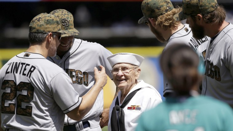 World War II veteran Burke Waldron before he threw out first pitch in Seattle.