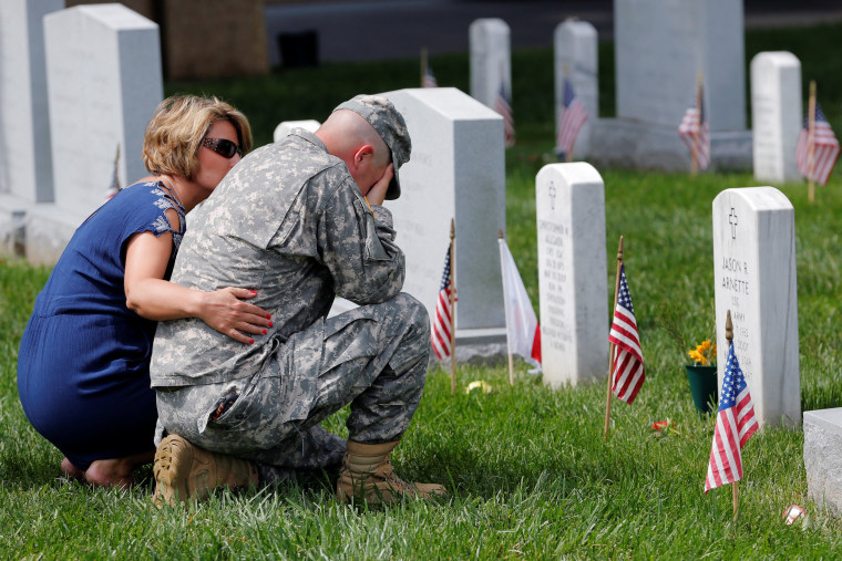 U.S. Army soldiers on Memorial Day at Arlington National Cemetery in Washington